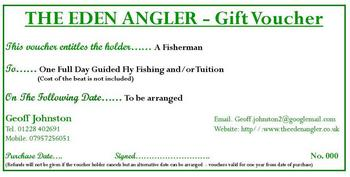Fly fishing gift vouchers are a great present for friends and family