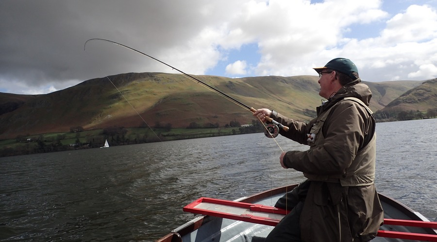 Fly fishing Ullswater in the beautiful English lake district