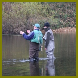 Fly fishing tuition on The River Eden