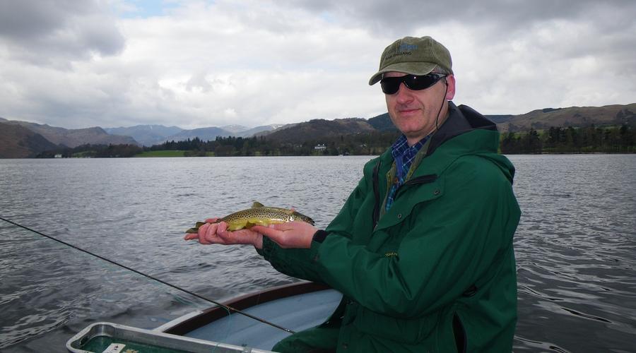 Fly fishing Ullswater in the beautiful English lake district