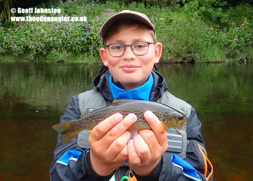 Moritz with his first English Brown Trout
