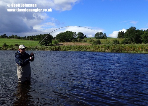 Mike is into a fish on his first try at fly fishing