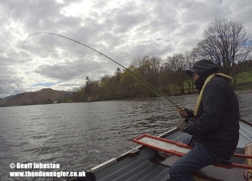 Colin is into a fish on his day in the lakes