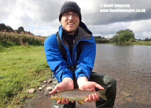 Nate with his first fly caught UK trout