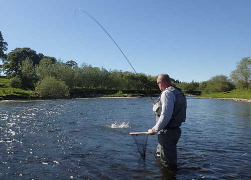 Jason into a fish in Cumbrian sunshine